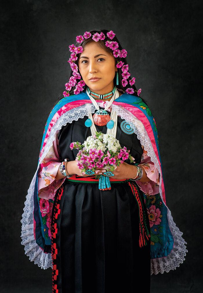 Tanysha With Flowers In Her Hair, Keres, Kewa Pueblo