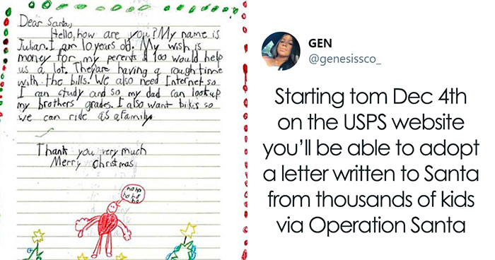 """This Holiday Season, USPS Lets People """"Adopt"""" A Letter Written To Santa To Fulfill A Kid's Christmas Wish"""