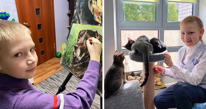 10-Year-Old Kid Donates His Drawings To Help Animals In Need, And Now He's Opened His Own Arts Center