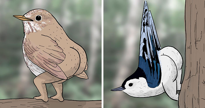 "People 'Criticized' How This Artist Drew Bird Legs, So He Trolled Them By ""Fixing"" The Legs"