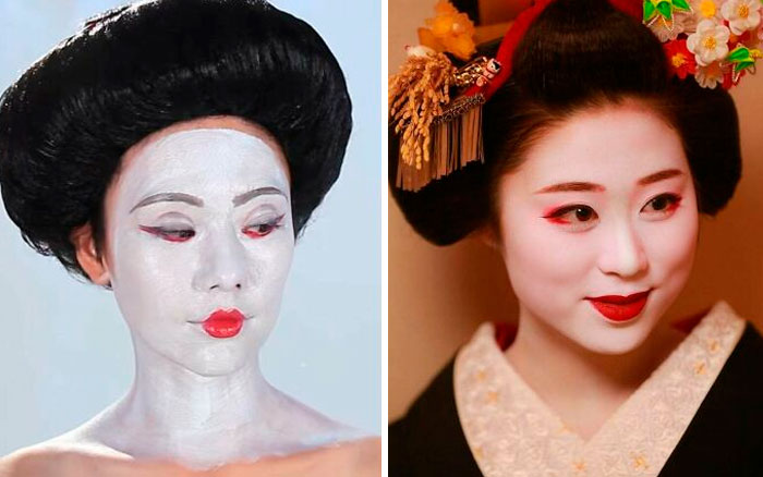 Buzzfeed's Geisha Makeup vs. Actual Geisha Makeup