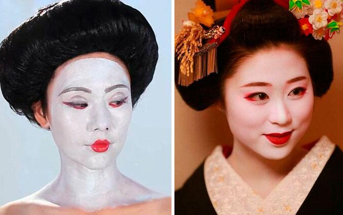 Buzzfeed's Geisha Makeup vs. Actual Geisha Makeup