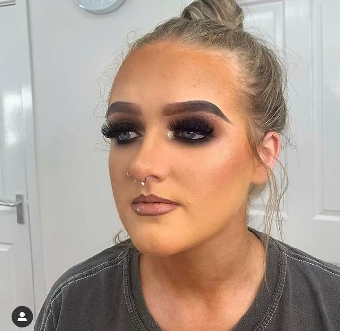 The Foundation Match... Look At Her Hair Line!!!! The Brows Are Literal Caterpillars!