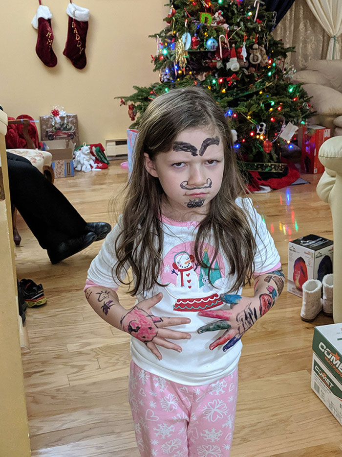My 6-Year-Old Got Tattoo Markers For Christmas And Disappeared For Half An Hour. Bonus: We Can't Get It To Come Off