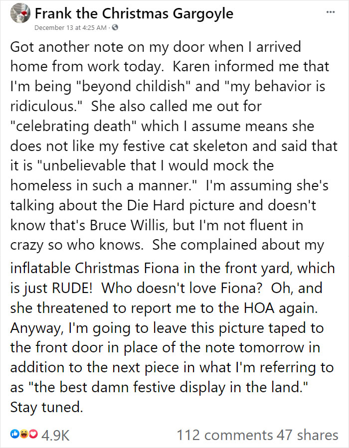 """""""Karen"""" Keeps Leaving Notes Complaining About Woman's Decorations, Woman Responds By Adding Even More 23"""