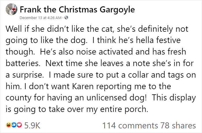 """""""Karen"""" Keeps Leaving Notes Complaining About Woman's Decorations, Woman Responds By Adding Even More 25"""
