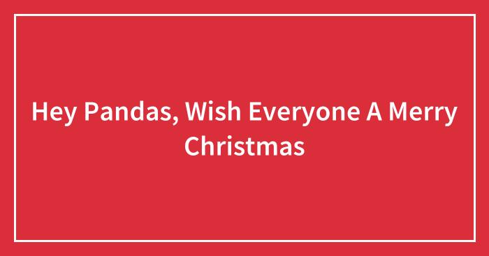 Hey Pandas, Wish Everyone A Merry Christmas (Closed)