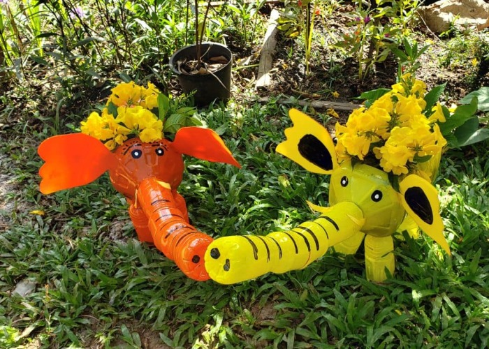 I Recycle Plastic Bottles Into Elephant Planter Pots