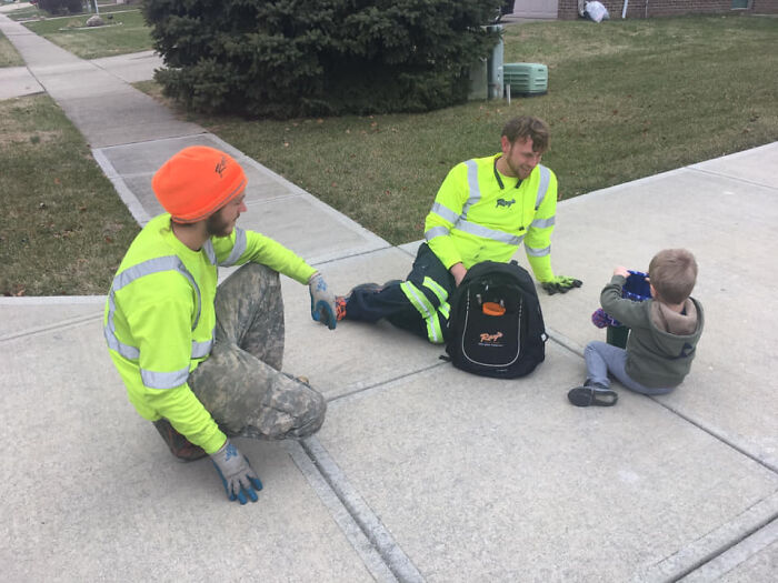 When The Neighborhood Garbage Collectors Show Some Love For A Boy And Get Him A Swag Bag With A Garbage Truck