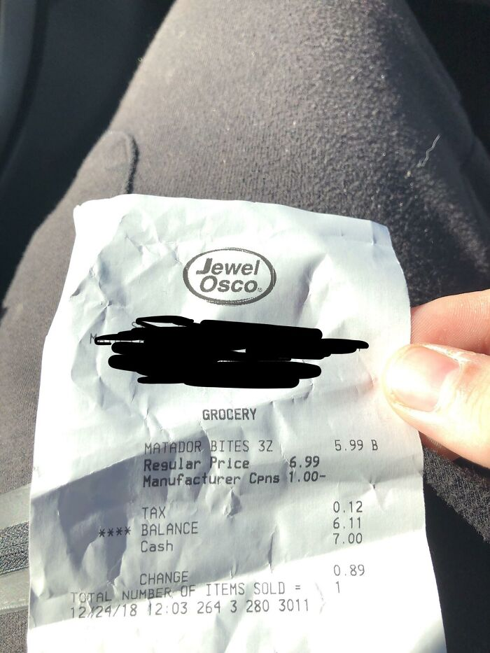 When Your Cashier Gives You A $1 Discount Because That's Exactly How Much You Need For Those Matador Bites