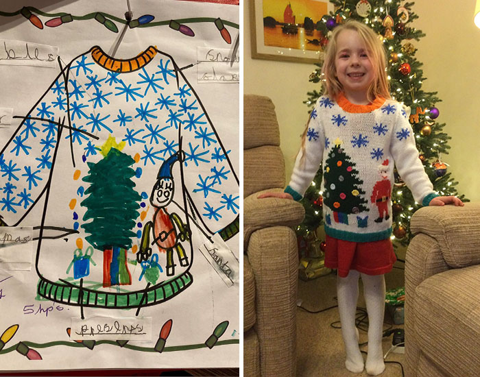 Grandma Surprises Granddaughter By Knitting Her A Christmas Sweater Based On Her Drawing