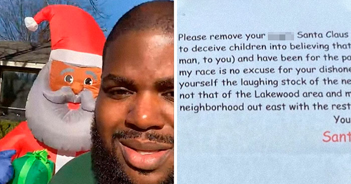 Man Decides To Decorate His Yard With A Black Santa, Receives A Letter From His Racist Neighbor