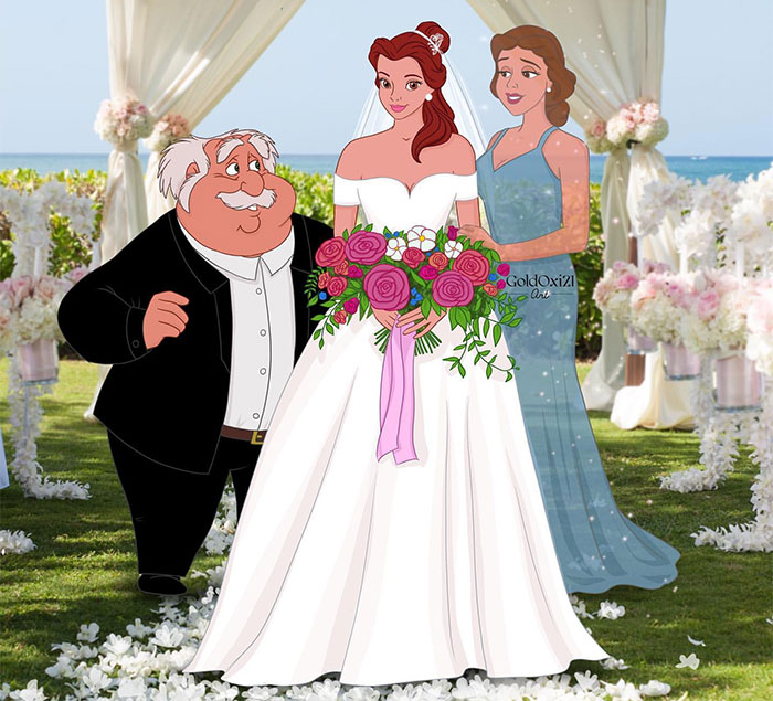 Illustrator Imagines What The Wedding Photos Of Disney Princesses And Villains Would Look Like (7 Pics)