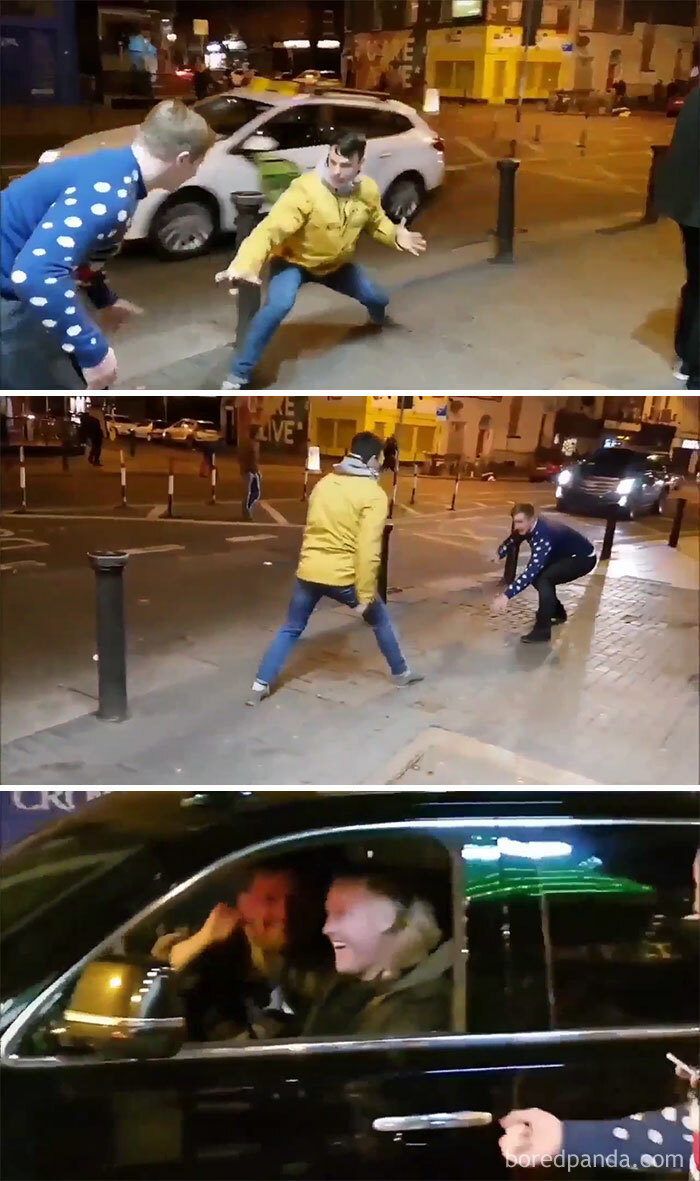 Two Drunk Guys Imitate Connor Mcgregor As He Drives Past