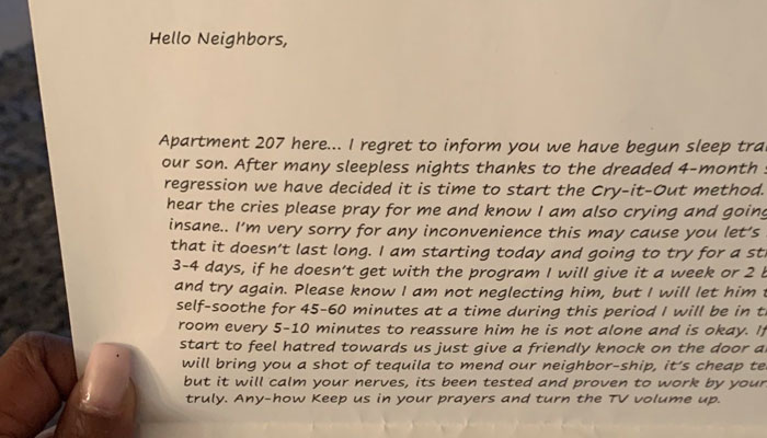Woman Shares A Letter She Got From Her Neighbors With A Baby And It Goes Viral