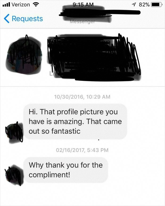 Lady Compliments My Profile Pic. Then 4 Months Later Mistakenly Thanks Me For Complimenting Hers