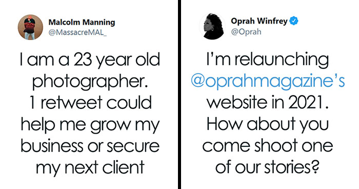Oprah Hires A Photographer That Was Struggling After Seeing His Works On Twitter