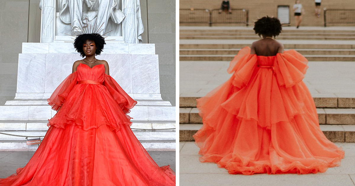18 Y.O. High School Graduate Gets An Overwhelming Response From The Internet After Her Prom Dress Photoshoot Goes Viral