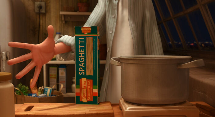 When Remy And Linguine Cook Together, Linguine Pours In A Box Of Bouchiba Pasta. This Is A Nod To Animator Bolhem Bouchiba