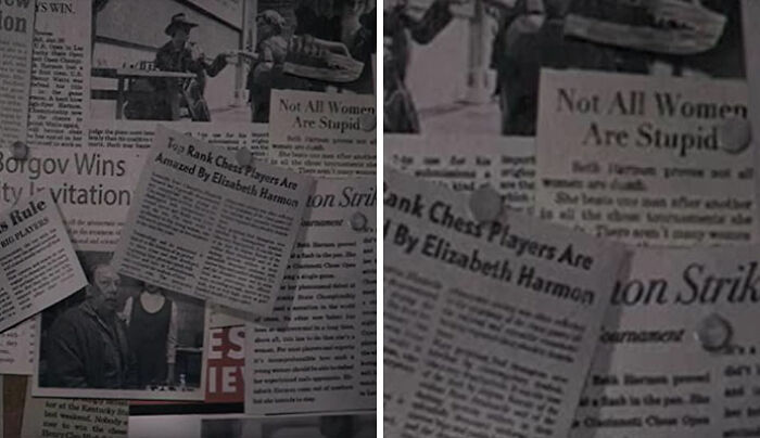 "One Of The Newspaper Clippings Mr. Schaibel Saved Has A Headline ""Beth Harmon Proves Not All Women Are Stupid"""