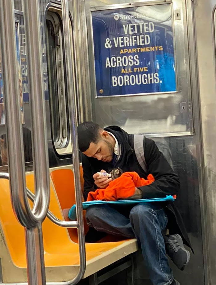 When You See A Guy Bottle Feeding A Kitten On The Subway
