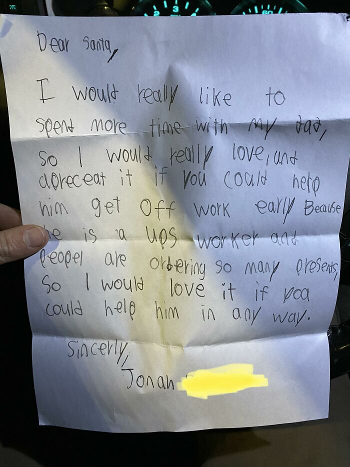 Child Writes A Heartbreaking Letter To Santa That Leaves His UPS Driver Dad In Tears