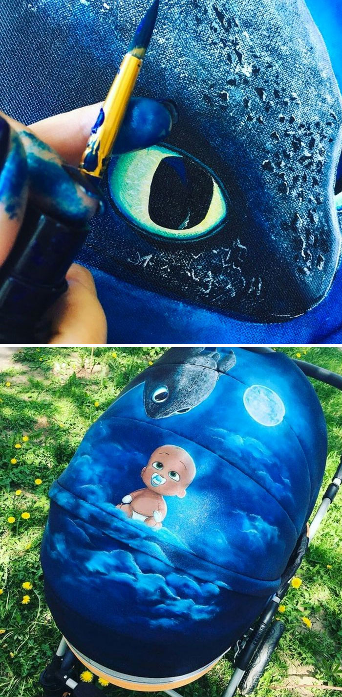 I Tried Painting On Strollers. I Held My First Experiment On My Friend's Stroller. Everyone Was Happy With The Result