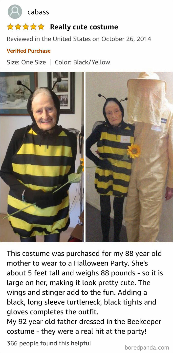 A Cute Amazon Review I Revisit Just For A Smile. An 88 Year Old Woman And Her 92 Year Old Husband Attend A Halloween Party. Btw They Liked The Bee Costume