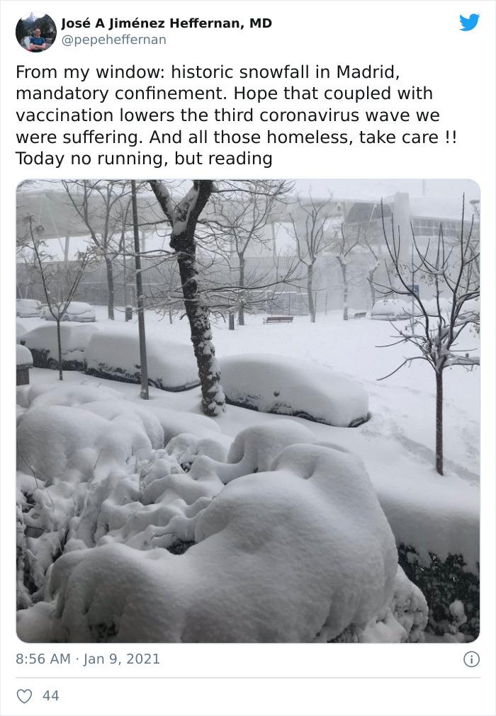 A Winter Snowfall In Madrid