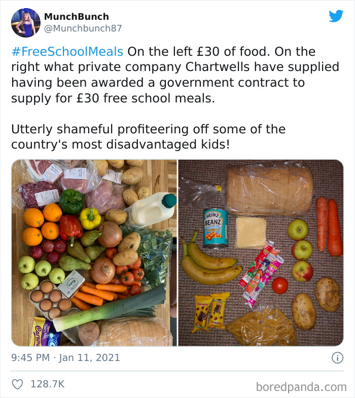 """Mom Compares What Food She Can Buy For £30 vs. What The """"£30-Worth"""" Government Food Package Looks Like"""