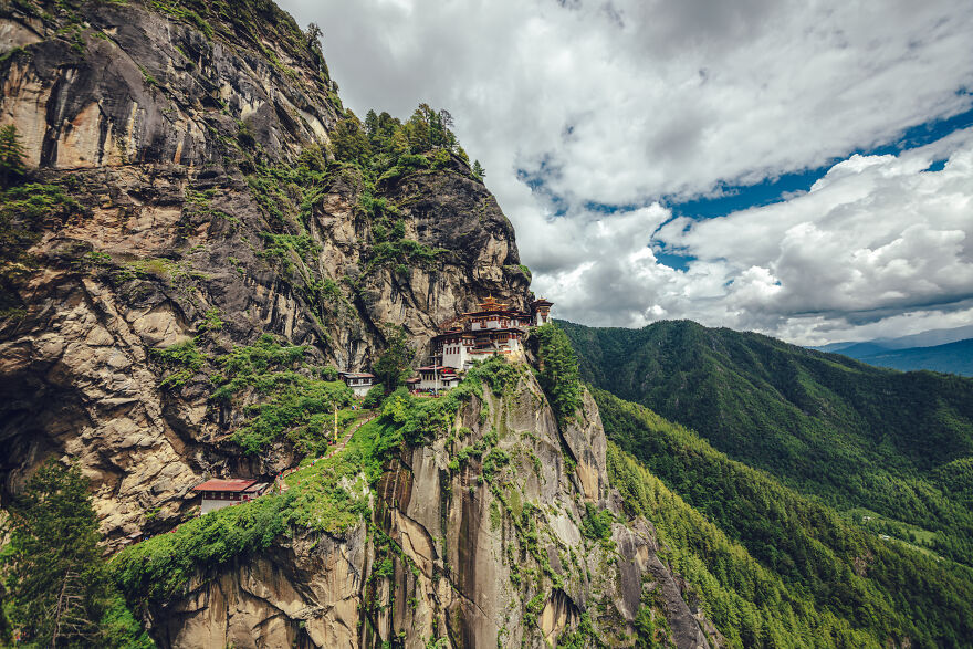 Taktsang Palphug Monastery More Famous As Paro Taktsang Is A Buddhist Temple Complex Which Clings To A Cliff, 3120 Meters Above The Sea Level On The Side Of The Upper Paro Valley, Bhutan.