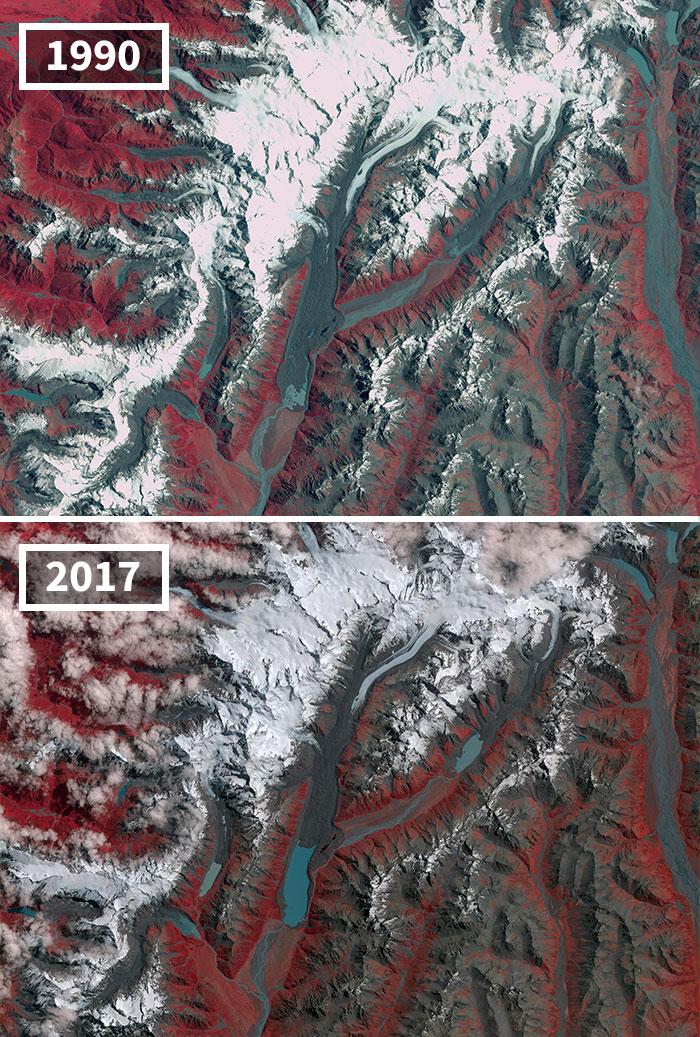 Contracción De Glaciares En Nueva Zelanda