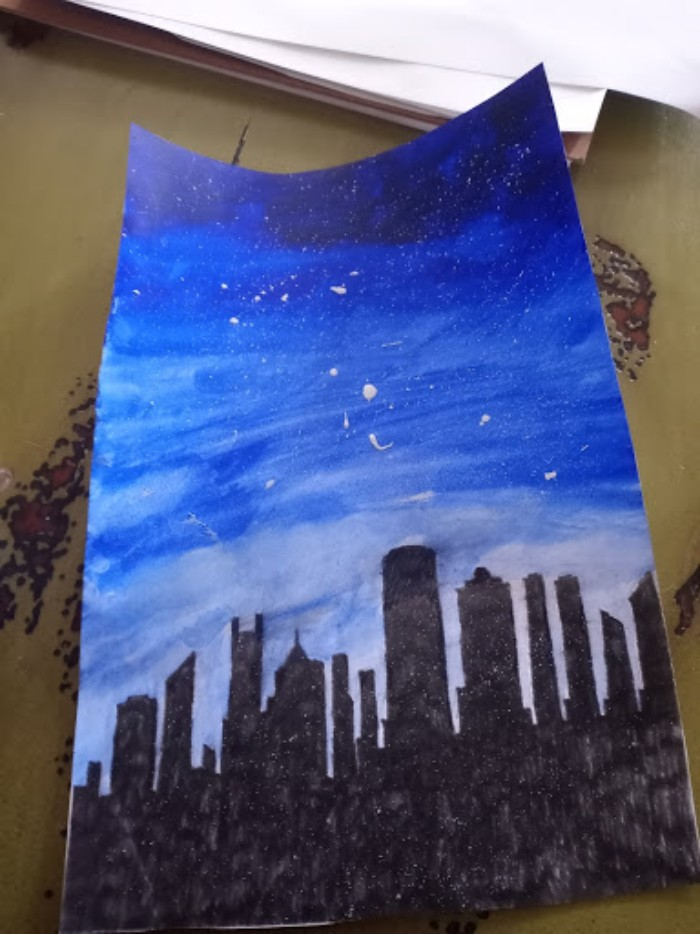 This Is A Painting I Did, (I Drew The City Silhouette And Painted The Sky).