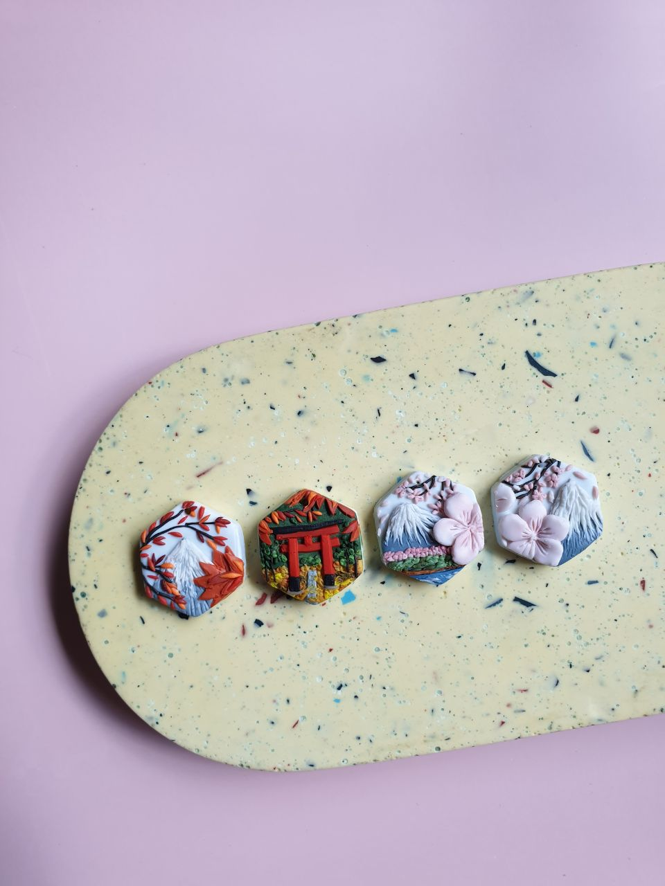 I Craft Landscapes On Polymer Clay Earrings