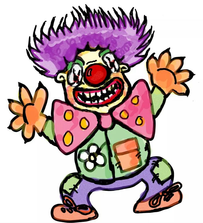 Cute Scary Clown, I Don't Usually Draw Scary Just Cute. 🤡😅
