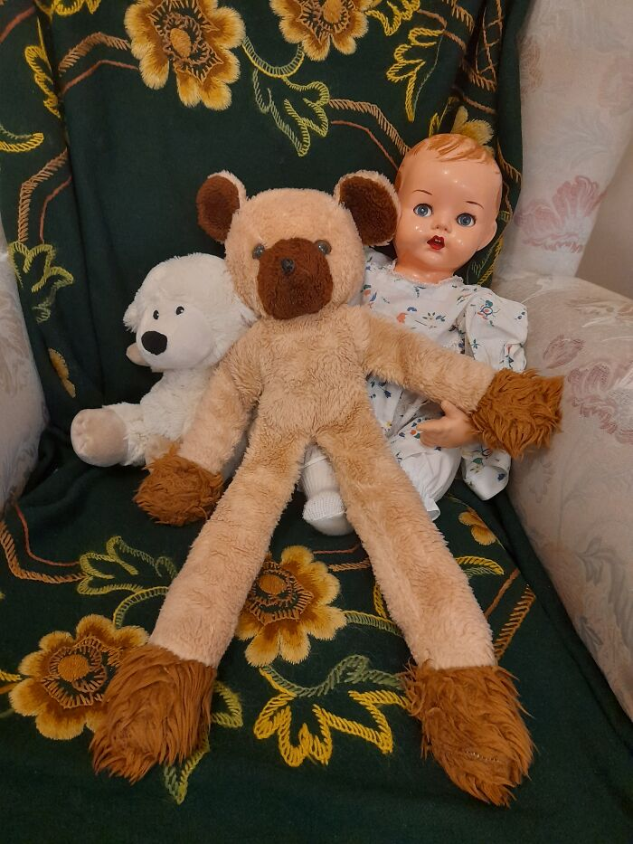 My Bear Roope From The 70s, With My Mom's Doll From The 40s And My Kid's Sheep From 2000s.
