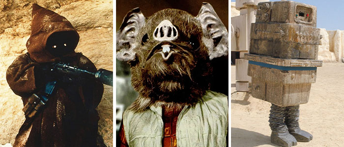 Rusty Goffe As A Jawa, Kabe, And A Gonk Droid In Star Wars (1977)