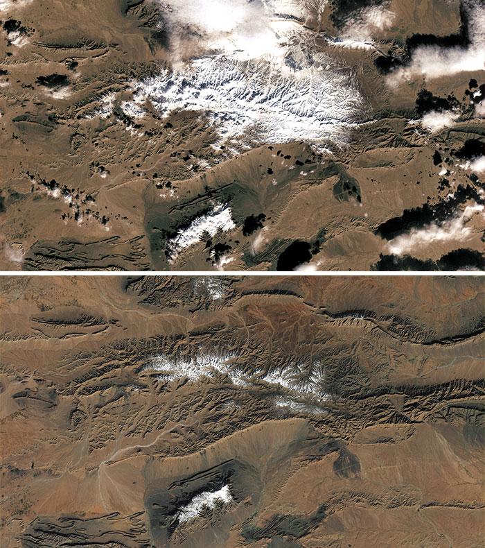 Raras Cascadas De Nieve En El Borde Del Desierto Del Sahara