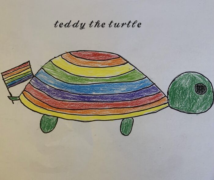 A Drawing I Did. So Basically Thomas Sanders Has A Smol Knitted Turtle Named Teddy, And I Drew A Picture Of It.