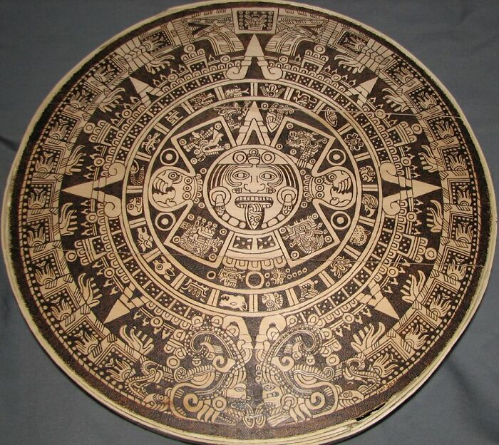 Mayan Calendar I Wood-Burned On A 15 Inch Cheese Box Lid
