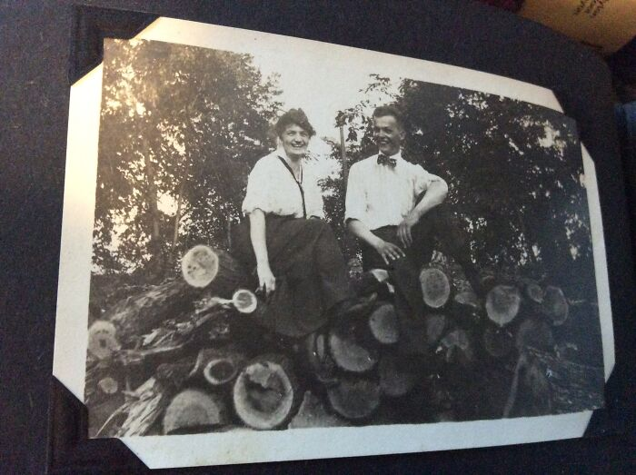 My Great-Aunt Emma Always Said She Was Equal To Any Man. She Chopped Her Own Firewood Till She Was 98, Lived To 104. This Is Emma (Left) After A Log Cutting Session With A Gentleman Caller In The Very Early 1910s. She Never Married. Photo From White Cloud, Michigan