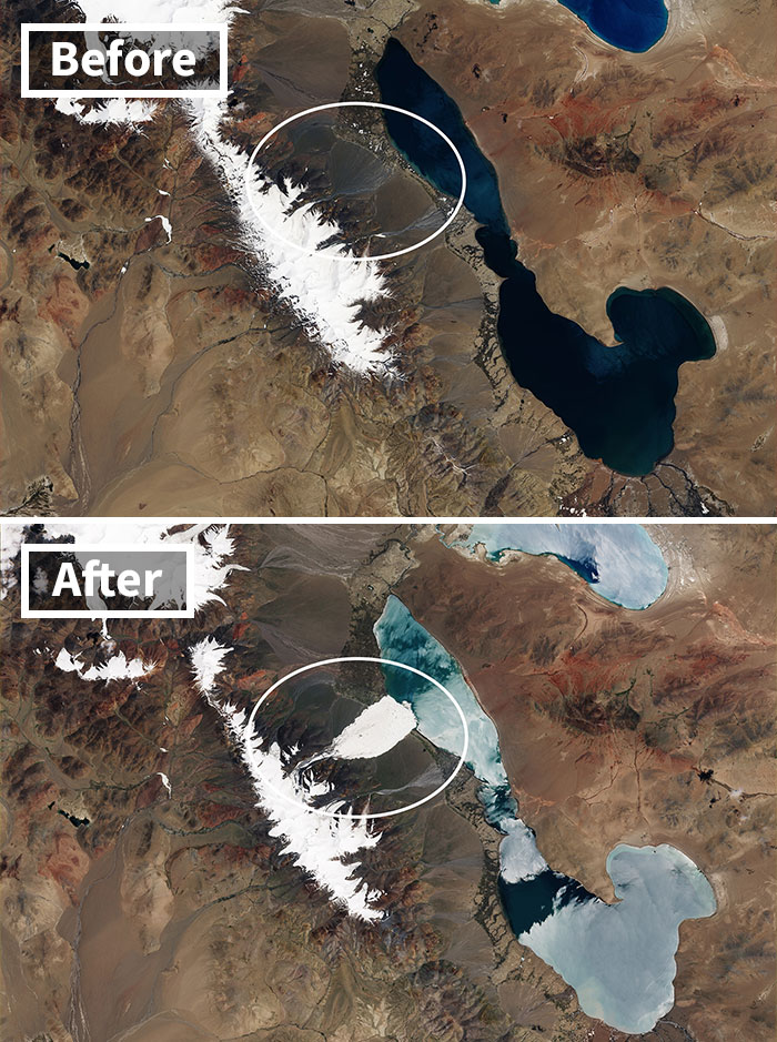 Ice Avalanche In Tibet's Aru Range