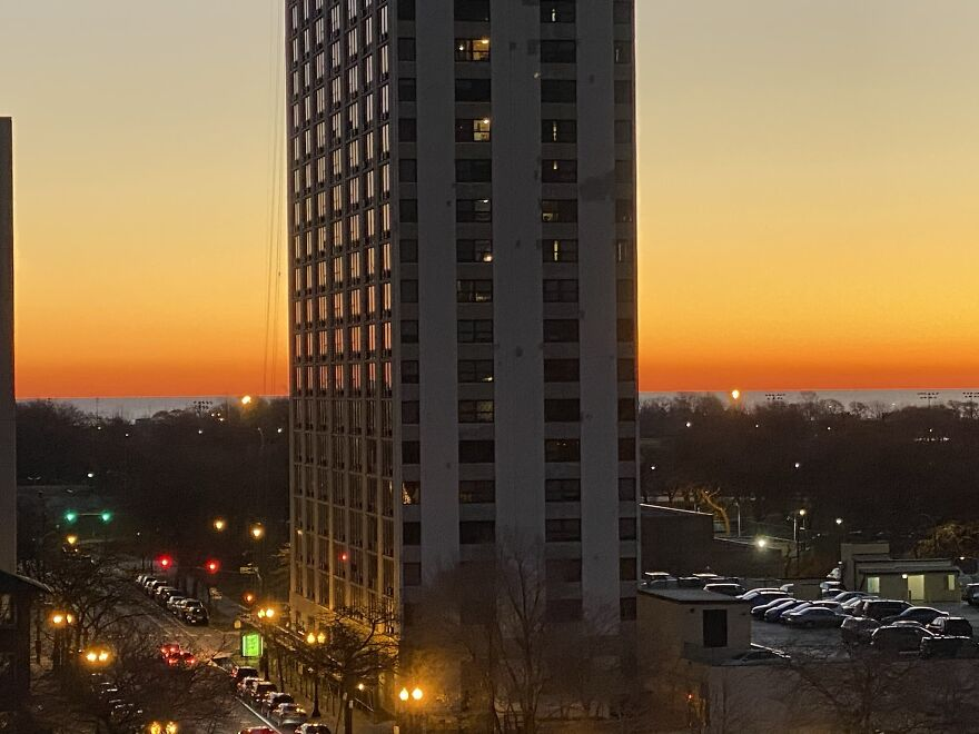 Beautiful Chicago Sunrise On A Crisp Winter Morning