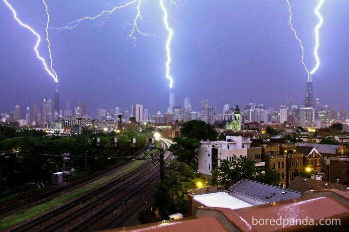 Lightning Striking Simultaneously On Chicago's Three Tallest Buildings