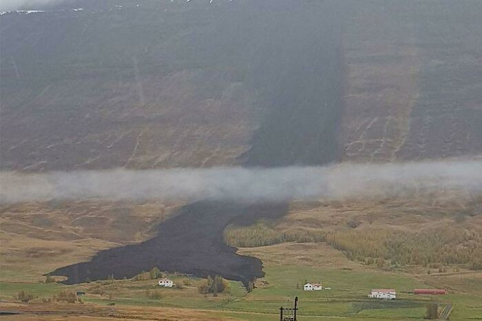 Landslide Splits Just Before Hitting A Farm In Iceland. Happened This Morning. No One Got Hurt