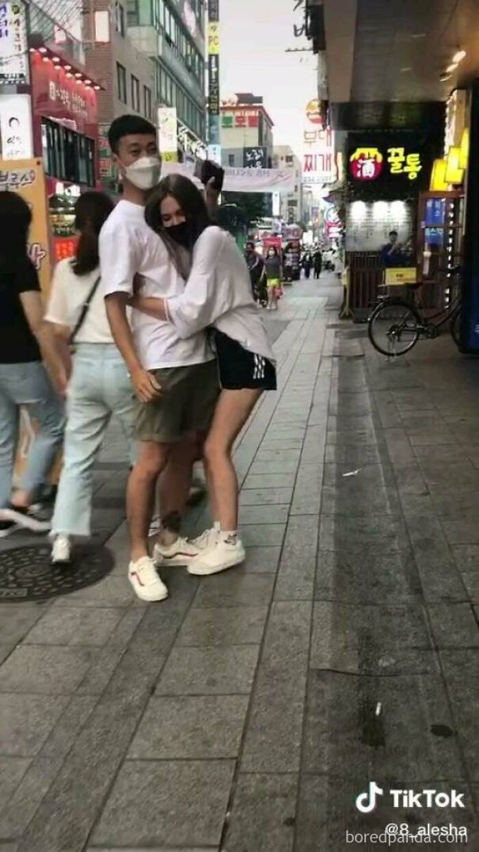 This Girl Makes Tiktok Videos Of Her Forcibly Hugging, Touching Or Trapping Korean Men. This Is Not Okay Behaviour. In All Videos The Men Are Visibly Uncomfortable And Try To Get Away From Her, She Either Follows Them Or Will Not Let Go Of Them...if The Roles Were Reversed There Would Be Outrage