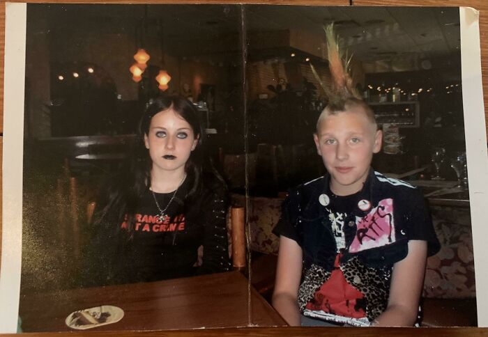 My Mom Calls This Photo A Family Heirloom Lol. 16 Yrs Ago, Me (F 13) And My BF (M 13) At The Olive Garden