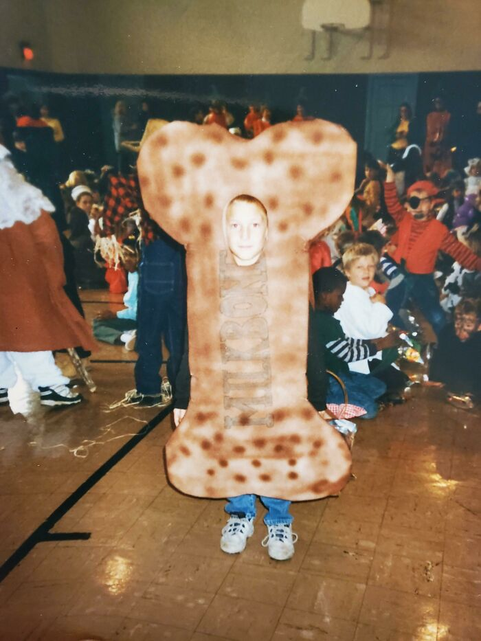 Halloween 1998 When I Thought Dressing As A Giant Milkbone Would Make Dogs Like Me