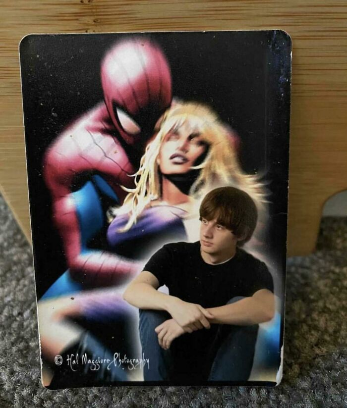 """15 Years Ago We Called Our Senior Photos, """"Senior Sweeties"""". I Only Had 75 Of These Bad Boys Printed And I Thought They Were Lost Forever After I Handed Them Out Like Trading Cards. But One Of My Friends Sent Me This Picture The Other Day. This May Be The Last Smgulz Senior Sweeite In The Wild..."""