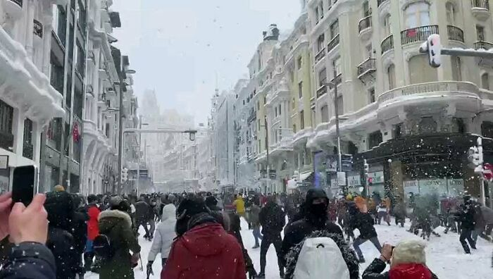 Biggest Snowfall In Madrid (Spain) In The Last 100 Years